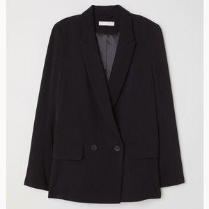 H&M Black Double-Breasted Blazer Jacket